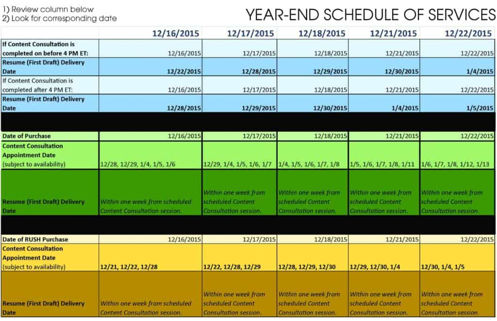 Calendar Year End : Year end service schedule