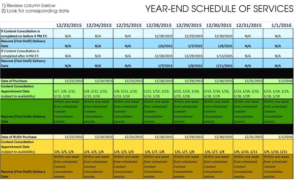Year-End Service Schedule 2