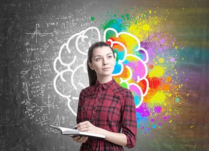 Woman writing creative ideas.